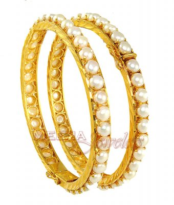 Gold Bangle with Pearl ( Precious Stone Bangles )