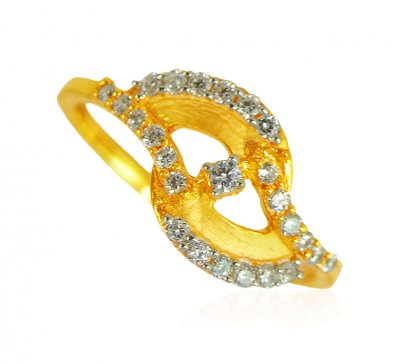 22k Gold Designer Stone Ring ( Ladies Signity Rings )
