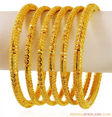 22k Designer Pipe Bangles Filigree ( Set of Bangles )