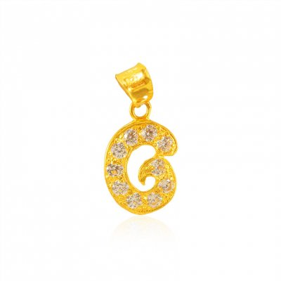 22Kt Gold Pendant with Initial(G) ( Initial Pendants )