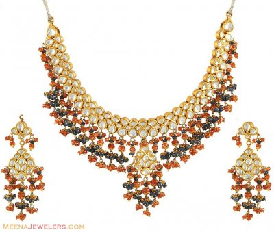 Kundan Earrings and Necklace Set ( Antique Necklace Sets )