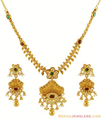 Exclusive 22K Gold Necklace Set ( Antique Necklace Sets )