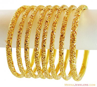 22k Gold Filigree Bangles Set(4 Pc) ( Set of Bangles )