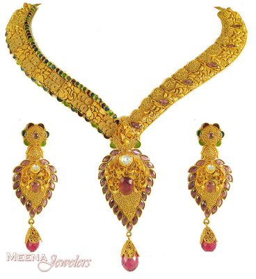 22kt Gold Antique finish Necklace set ( Antique Necklace Sets )