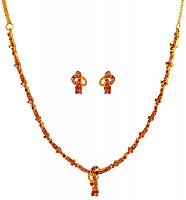 22k Gold Ruby Necklace Set ( Precious Stone Sets )