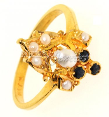 Gold Ring with Sapphire and Pearl ( Ladies Rings with Precious Stones )