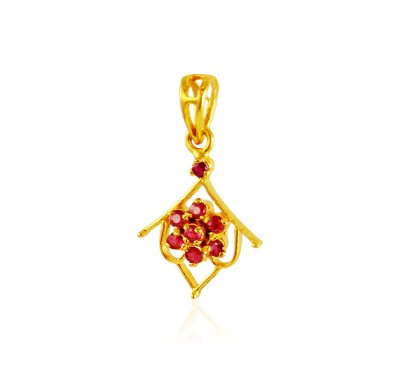 22K Gold Ruby Pendant ( Fancy Pendants )