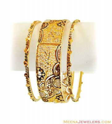 21K Gold Antique Finished Bangles ( Antique Bangles )