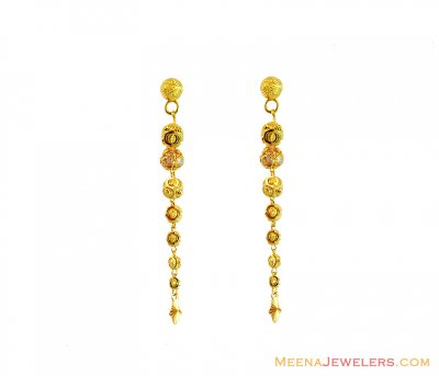 22K Gold Long Earrings ( 22Kt Gold Fancy Earrings )