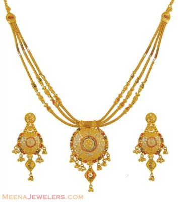 Gold Three Tone Necklace Set ( 22 Kt Gold Sets )