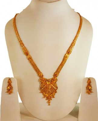 22k Yellow Gold Long Necklace Set ( 22 Kt Gold Sets )