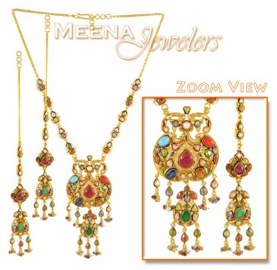 22Kt Gold Antique Necklace Set ( Antique Necklace Sets )