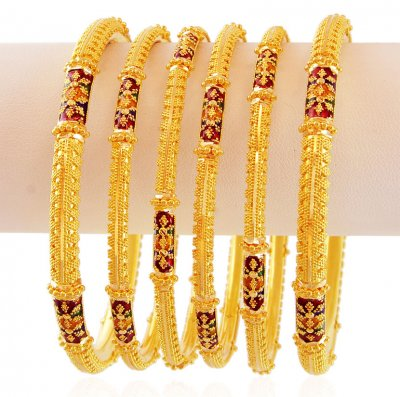 Gold Fancy Meenakari Bangles (2 PC) ( Set of Bangles )