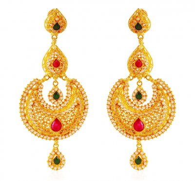 22K Gold Bali with Stones ( Exquisite Earrings )
