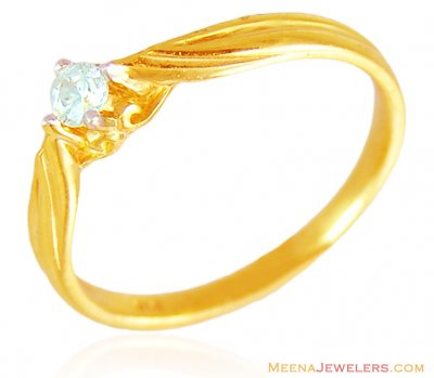 22K Gold Single Studded Ring ( Ladies Signity Rings )