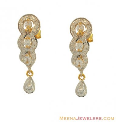 Gold CZ Earrings (22Kt Gold) ( Signity Earrings )