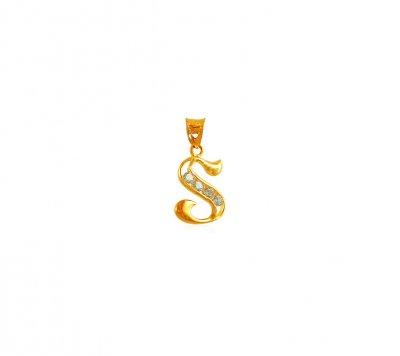 22K Gold Pendant with Initial (S) ( Initial Pendants )