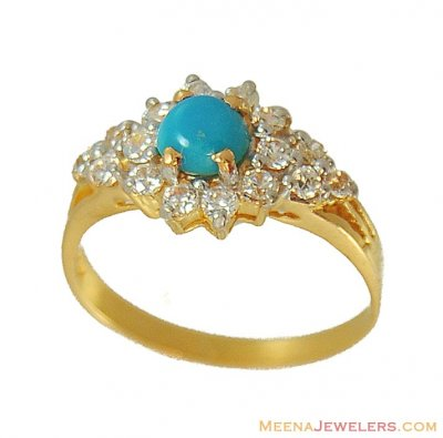 22k Gold Emerald And Cz Ring ( Ladies Rings with Precious Stones )