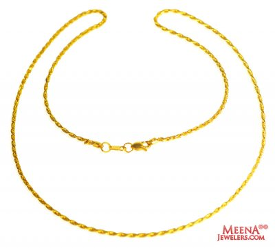 22 Kt Gold Fancy Chain (20 Inch) ( Plain Gold Chains )