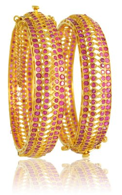 22Kt Gold Bangles with Ruby ( Precious Stone Bangles )
