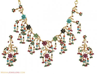 22k Gold Navaratan Necklace Set ( Precious Stone Sets )