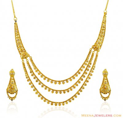 22k Two Tone Layered Necklace Set ( 22 Kt Gold Sets )