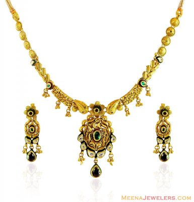 Designer Gold Antique Necklace Set ( Antique Necklace Sets )