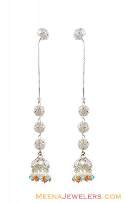 22K White Gold Sui Dhaga Earrings ( Long Earrings )