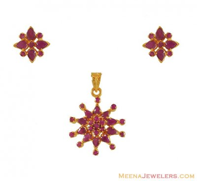 Ruby Pendant Set in 22 kt ( Precious Stone Pendant Sets )