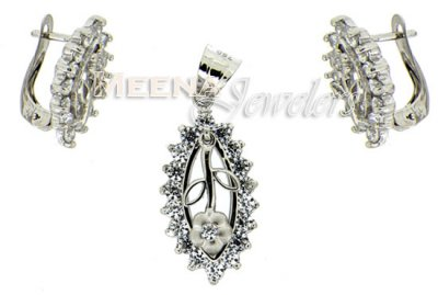18 Kt White Gold Pendant Sets ( White Gold Pendant Sets )
