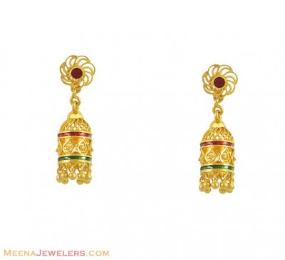 22K Meenakari Chandeliers  ( 22Kt Gold Fancy Earrings )
