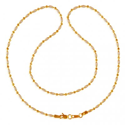 22kt Gold Rice Balls Two Tone Chain ( 22Kt Gold Fancy Chains )