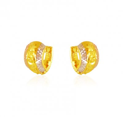 22k Gold 3 Tone ClipOn Earrings ( Clip On Earrings )