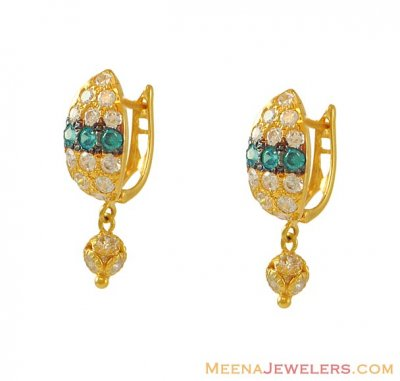 22k Clip On With Colored CZ ( Clip On Earrings )
