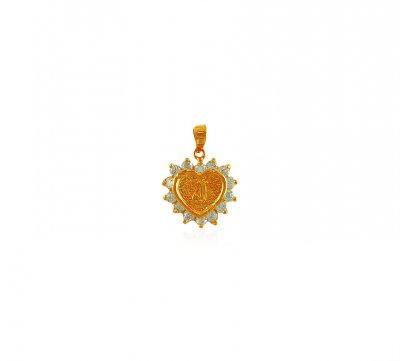 22K Gold Pendant with Initial (N) ( Initial Pendants )