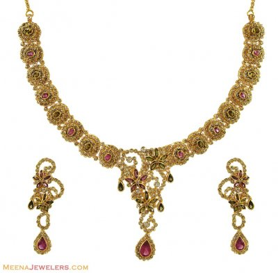 22K Designer Polki Diamond Set ( Diamond Necklace Sets )