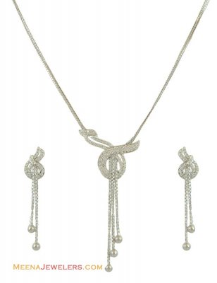 18Kt White Gold CZ Necklace Set ( White Gold Sets )