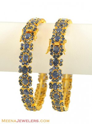 22Kt Gold Bangles With Sapphire ( Precious Stone Bangles )