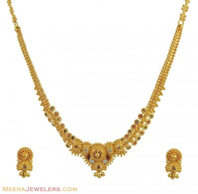 22k 2 Tone Necklace Set ( 22 Kt Gold Sets )