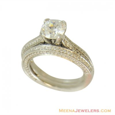 18k Exclusive Engagement Ring ( Ladies White Gold Rings )