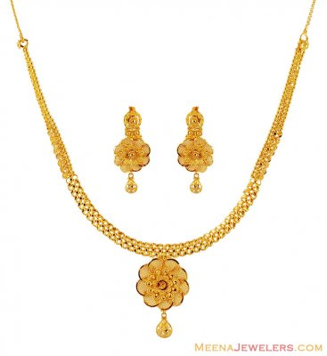 22K Designer Floral Necklace Set ( 22 Kt Gold Sets )