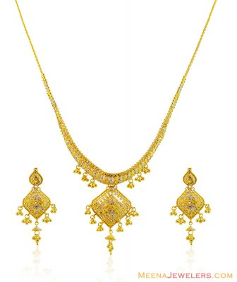 22k Beautiful Two Tone Necklace Set ( 22 Kt Gold Sets )