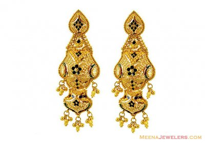 22k Gold Meenakari Long Earrings ( 22Kt Gold Fancy Earrings )