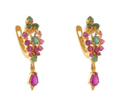 Gold Earrings with Precious Stones ( Precious Stone Earrings )