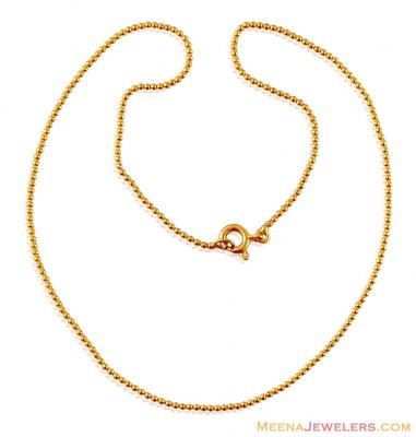 21K Gold Kids Ball Chain ( 22Kt Gold Fancy Chains )