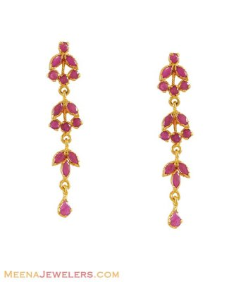 22K Gold long Ruby Earrings ( Precious Stone Earrings )