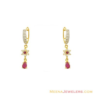 22K Gold Ruby and CZ Earrings ( Precious Stone Earrings )