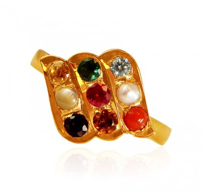 22kt Gold Navaratan Ring For Ladies ( Diamond Rings )