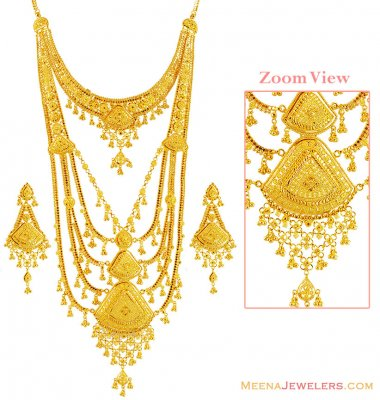 22K Gold Designer Bridal Rani Haar  ( Bridal Necklace Sets )