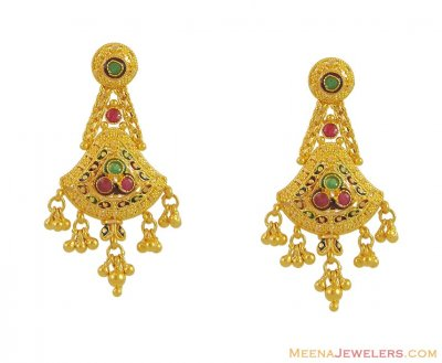 22K Earrings with Ruby and Emeralds ( Precious Stone Earrings )